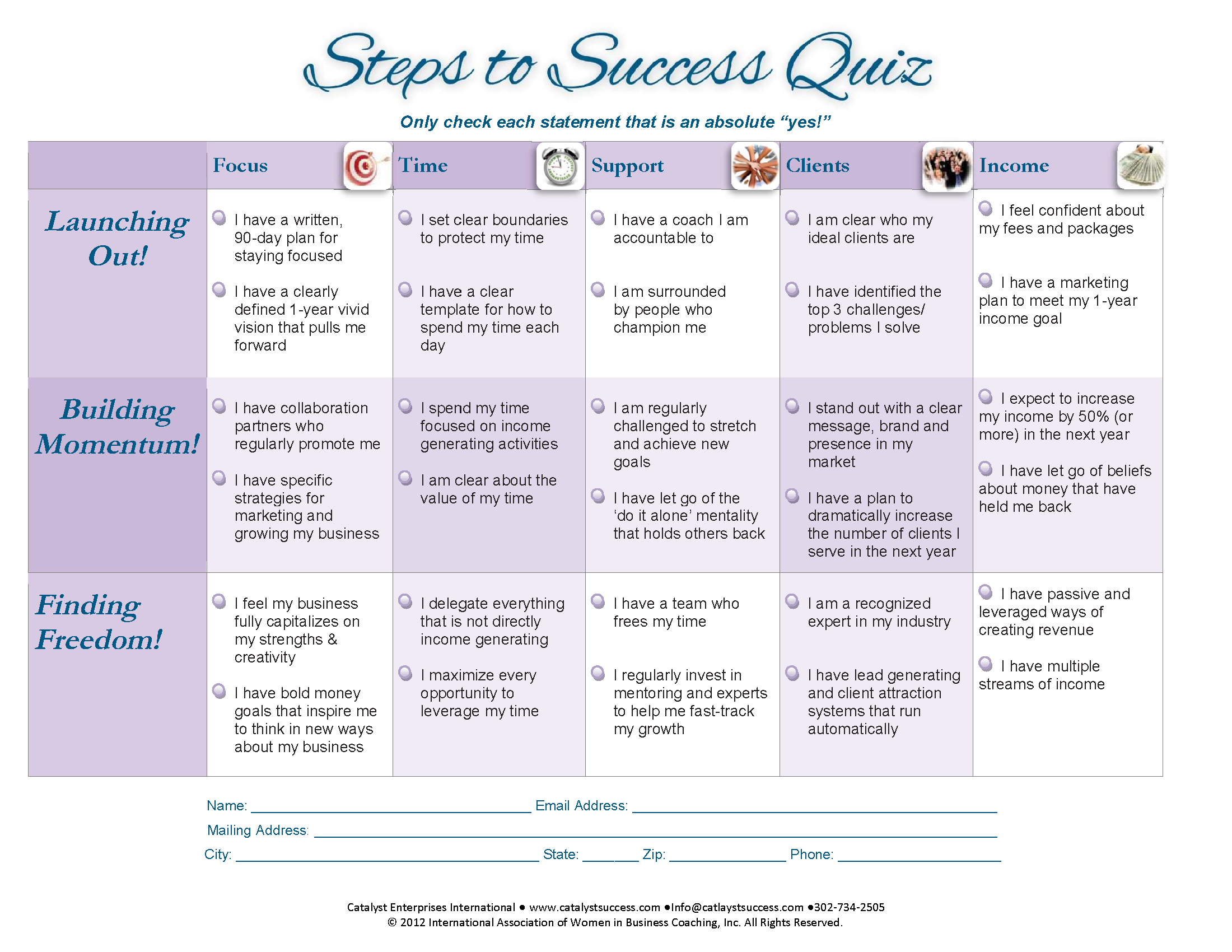 Steps To Success Quiz